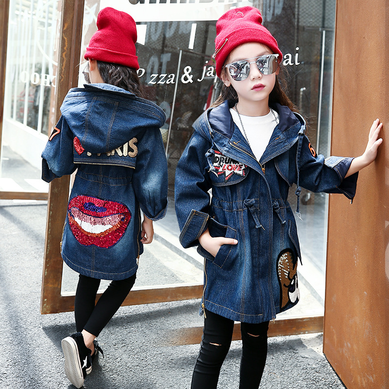 Spring Autumn Girl Denim Jackets Coats Outerwear Kids Clothing Jeans Coat for Girls Lips Sequin Children Clothes Girls Jacket scratch kids girls outerwear denim jeans jackets for children embroidery flower baby girl coats infant autumn clothing outfits