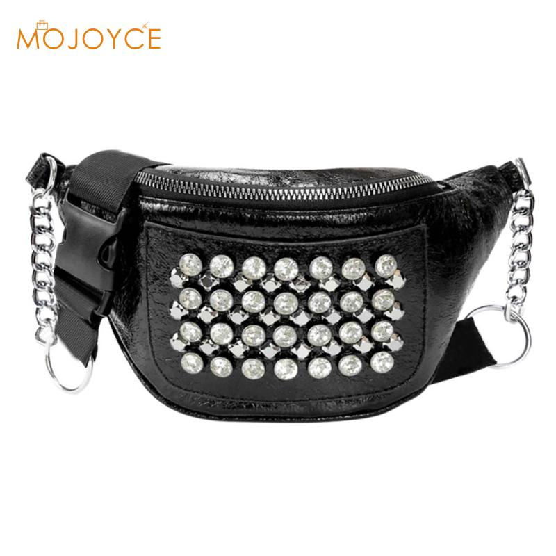 Fashion Women PU Leather Fanny Pack Street Rhinestones Rivets Street Style Belt Bags Phone Purse Waist Packs Purse Waist Packs