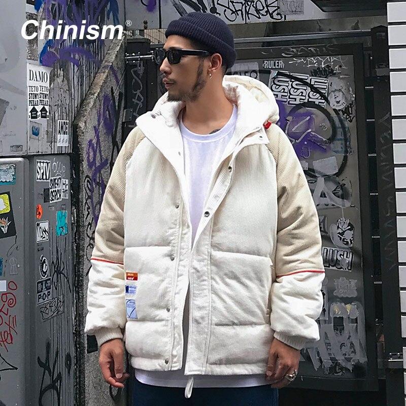 CHINISM Conduroy Patchwork Con Cappuccio Parka Mens Streetwear Hip Hop Cappotti Outwear 2018 Inverno Caldo di Spessore Con Cappuccio Parka
