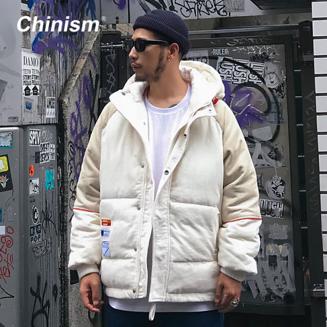 CHINISM Conduroy Patchwork Hooded Parkas Mens Streetwear Hip Hop Outwear Coats 2018 Winter Warm Thick Hoodie P