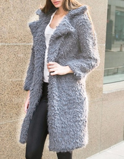 New Hot Women's Autumn and Winter Plush Velvet Long Trench Fashion Turn-down Collar Warm Coat Outwear 3 colors!