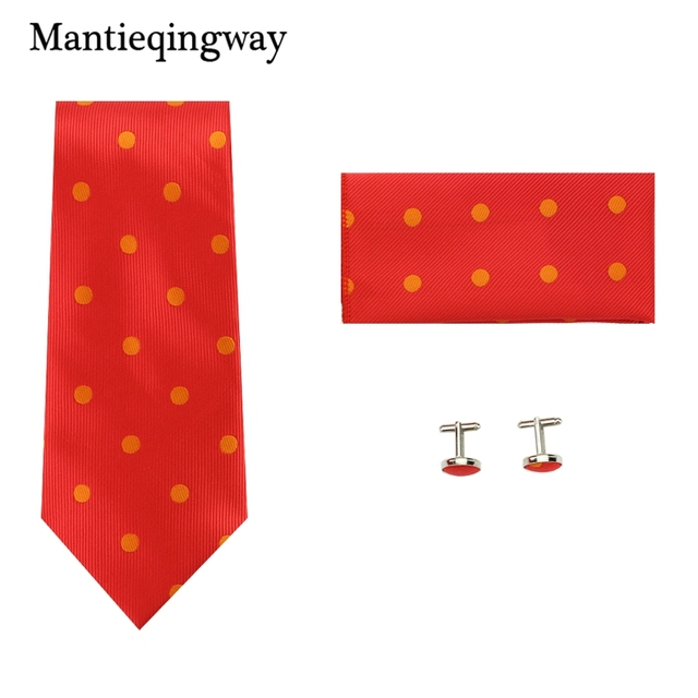 Mantieqingway Fashion Red Dots Casual Set For Men Wedding Cufflinks 24 24cm Pocket Square Neck