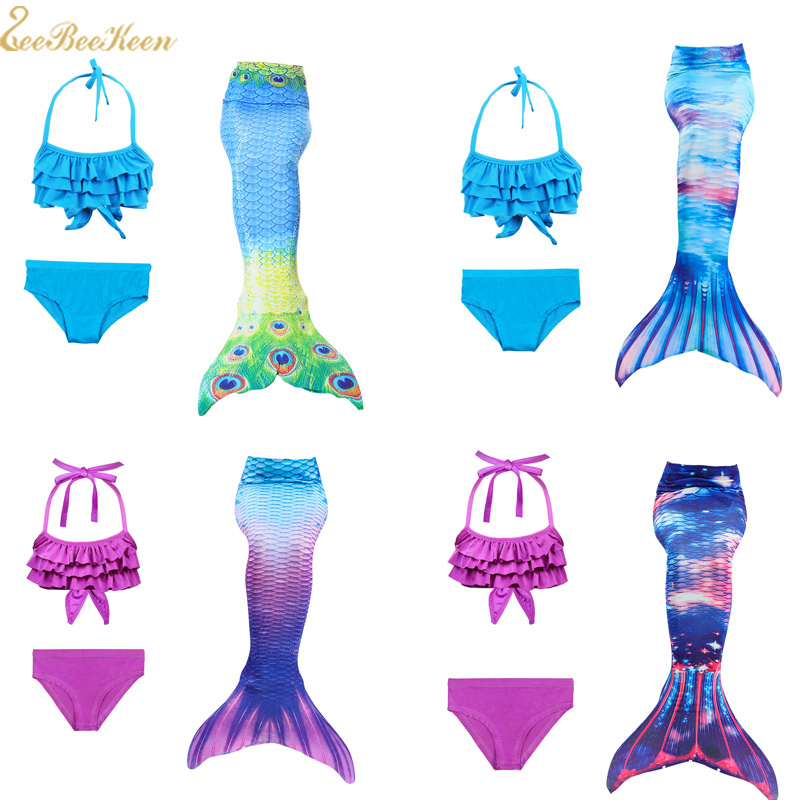 Mermaid Tail Summer Bikini Blue/purple Swimwear Bathing Suit Swim Flippers Mermaid Cosplay Costume for kids Swimsuit For Girls