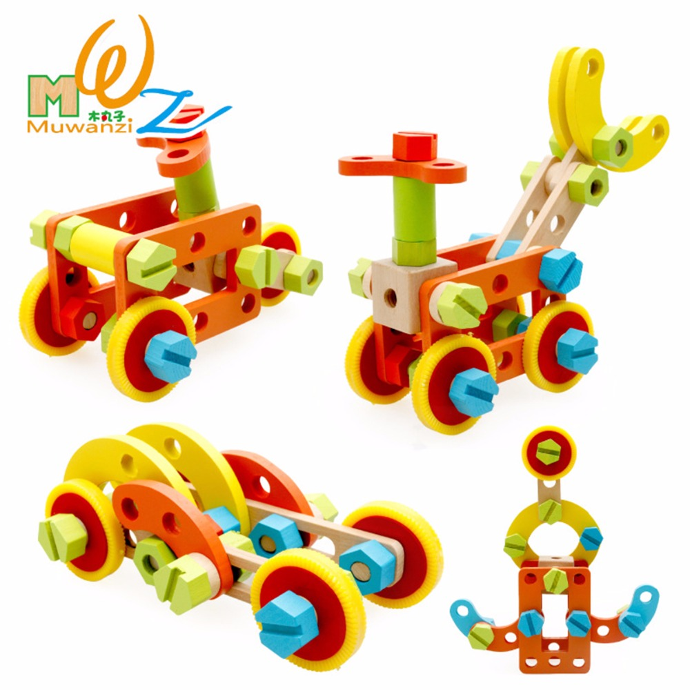 Children Assemble Blocks Removable Nut Combination Dismounting Tool Kids Screw Wood Educational Toys Wooden Toy Kid Gift kid s soft montessori wooden mini number house number shape matching blocks toy set early educational gift for kids