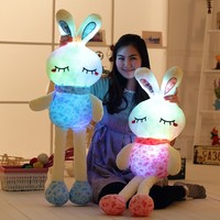 Cute New Luminous Cushion Blue Pink Shivering Stuffed Pillow Plush Toy Cute Beauty Rabbit Lighting Doll Birthday Gift For Girl