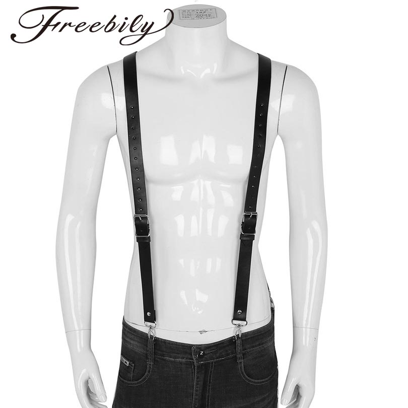 Black Fashionable Mens Imitation Leather Braces Belt Double Shoulders Adjustable Braces Belt Suspenders with Buckles and Clasps