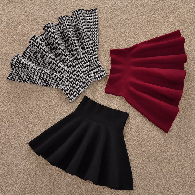 Freeshipping Female Solid Casual Knee-length Sun Pleated For Color Tutu Lady Skirt Winter Women Skirts None Natural A-line 2016