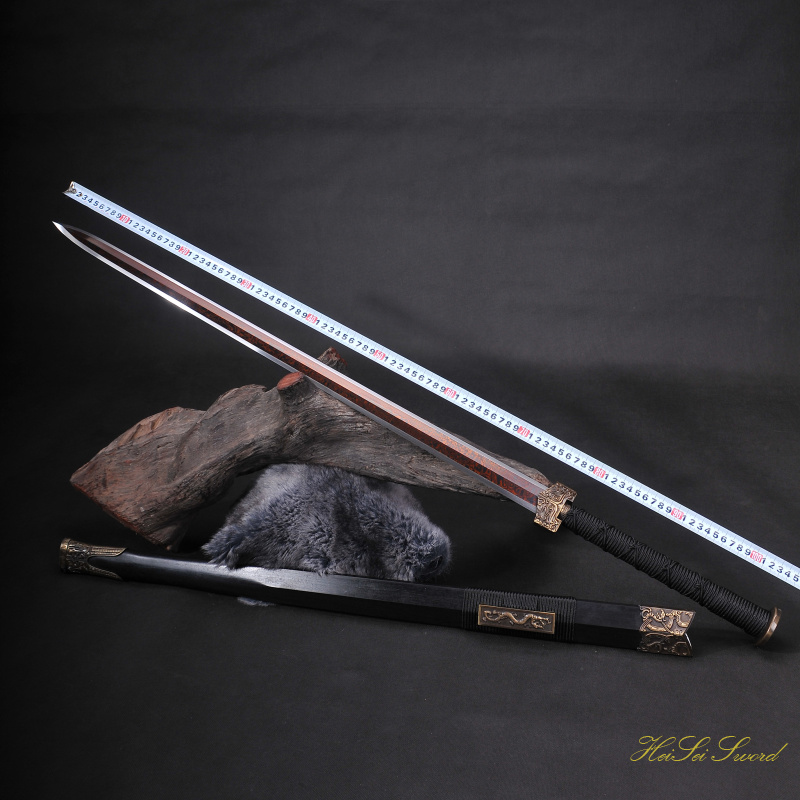 Hand Forged Chinese Han Sword Double Dragon Reding Blade Sharp Edge Real Sword Vintage Best Gift
