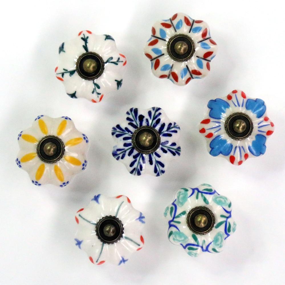 1x Ceramic Hand Painted Colorful Kids Room Door Knobs and Handles Cabinet Wardrobe Kitchen Drawer Dresser Door Pulls Knobs