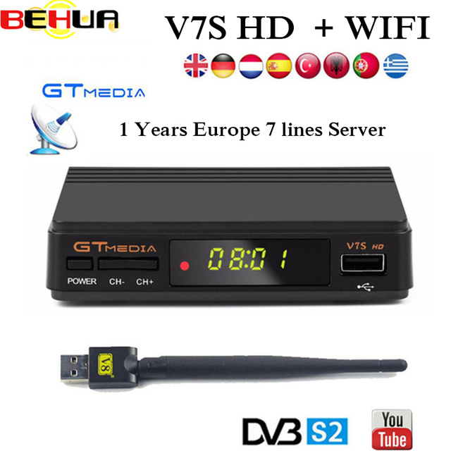 US $12 86 30% OFF|2019 DVB S2 Freesat V7 hd With USB WIFI FTA TV Receiver  gtmedia v7s hd Support Europe cline Network Sharing satellite receiver-in