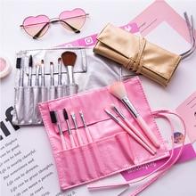 7pcs/set Pink Golden Sliver Makeup Brush Set Foundation Powder Blush Eyebrow Eyeliner Face Eyes Beauty Makeup Cosmetic Tool