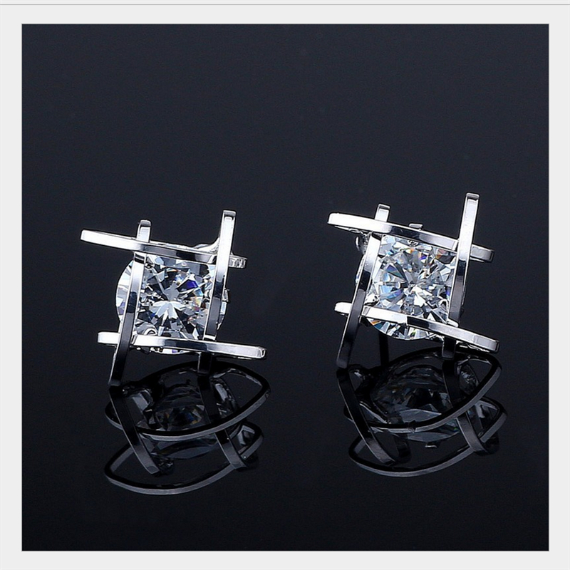 Copper Tic Tac Toe New Style Square explosion models zircon earrings fashion crystal earring For Girl Gifts