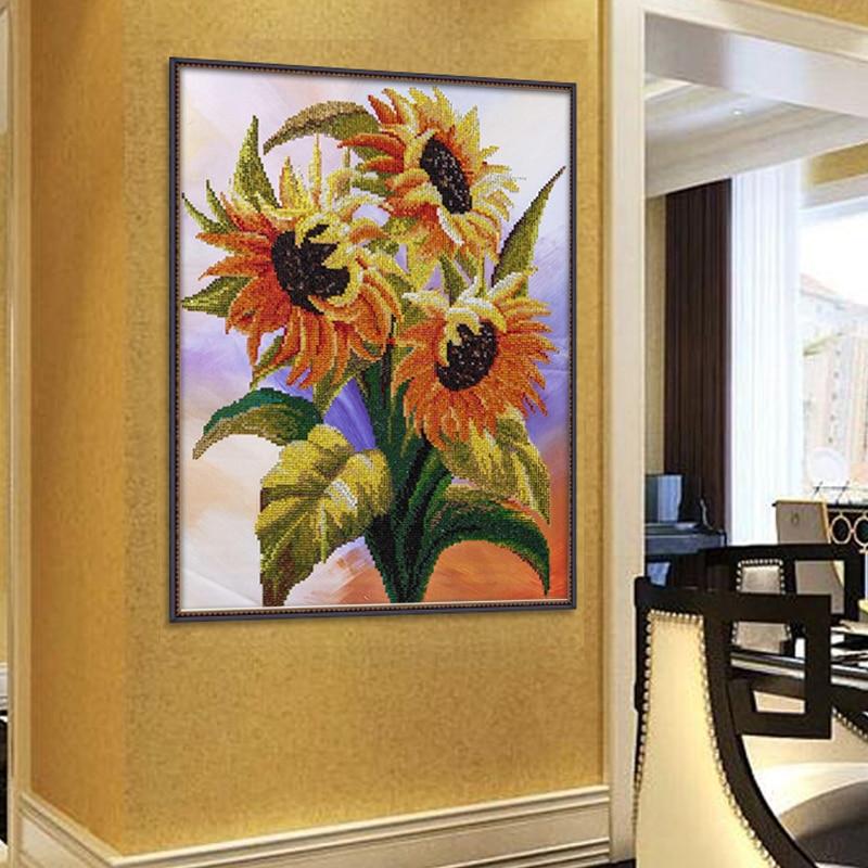 Hermoso girasol 5d Diy kits de pintura de diamante Bordado redondo - Artes, artesanía y costura - foto 3