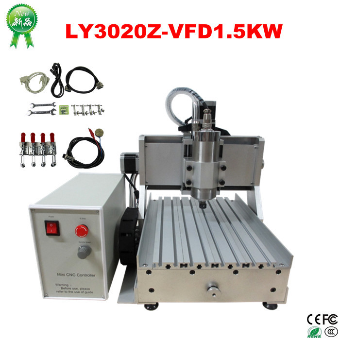 CNC Router 3020 water cooling 1500W VFD spindle CNC Cutting Machine for metal woodworking, Free ship to Russia No Tax good speed machines for woodworking metal cnc router for sale