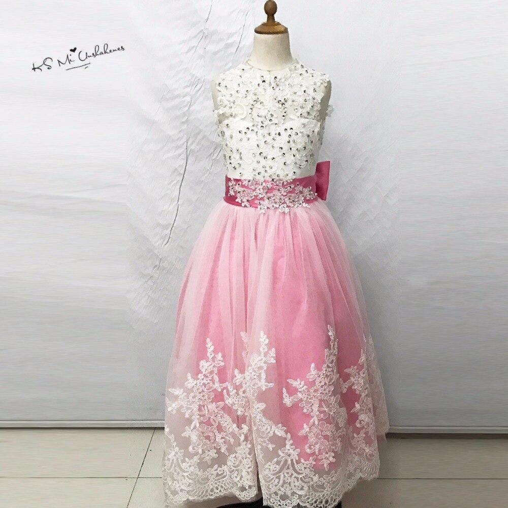 3e698a4115 Vestidos de Primera Comunion Różowy Matka Córka Suknie Pageant Sukienki dla  Dziewczynek Suknia Balowa Lace Koraliki Balu Wieczór Suknie Dzieci