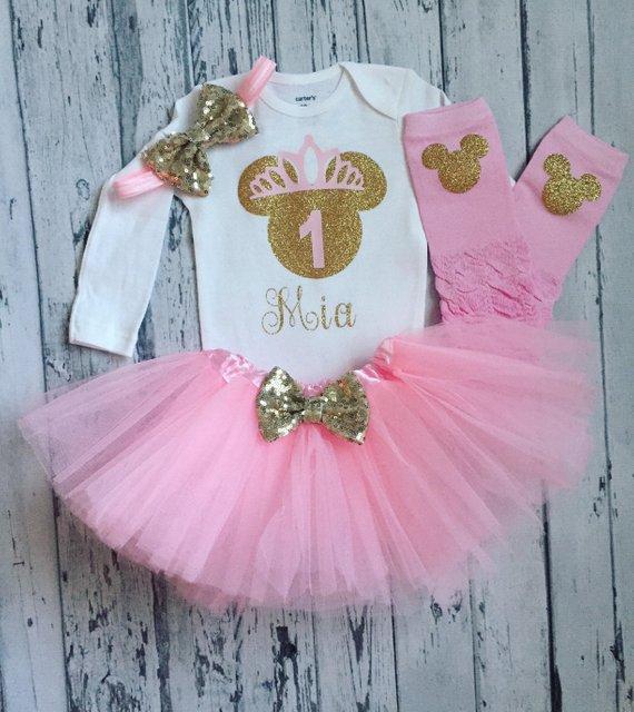 fd302986d personalize name age Minnie Mouse 1st Birthday Bodysuit & Tutu bodysuit  onepiece Tutu toodles Outfit Set