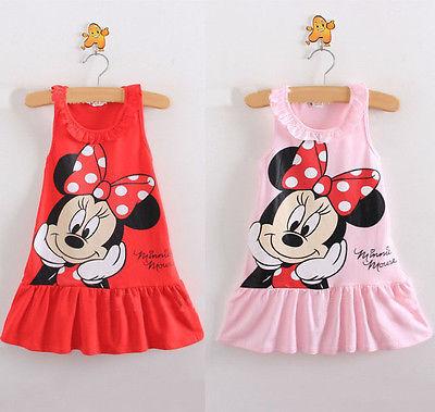 2020 crianças bonito dos desenhos animados vestidos para crianças bebê meninas vestido vermelho rosa algodão vestidos de aniversário festa verão princesa vestido