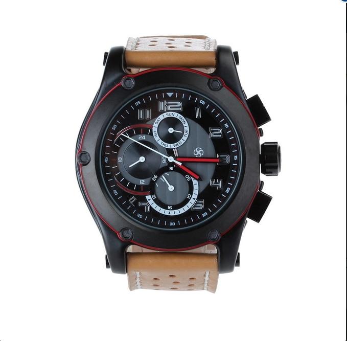 Hot sale Fashion Men s WristWatch Sports Genuine Leather Strap Stainless Steel Case Quartz Watch Clock