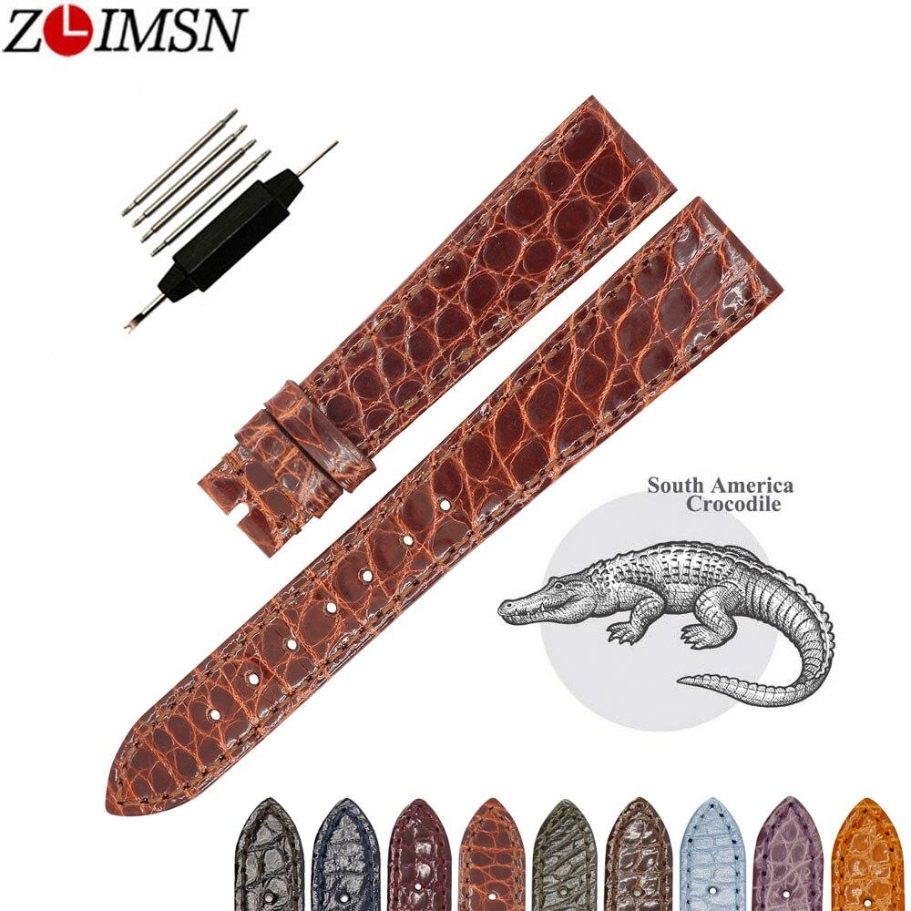 ZLIMSN bracelet en cuir de Crocodile rond fait main de haute qualité pour hommes et femmes universel 16mm 18mm 19mm 20mm 22mm