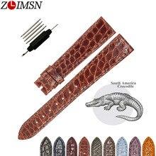 ZLIMSN yüksek kalite moda el yapımı deri yuvarlak timsah deri kayış erkekler ve kadınlar için evrensel 16mm 18mm 19mm 20mm 22mm