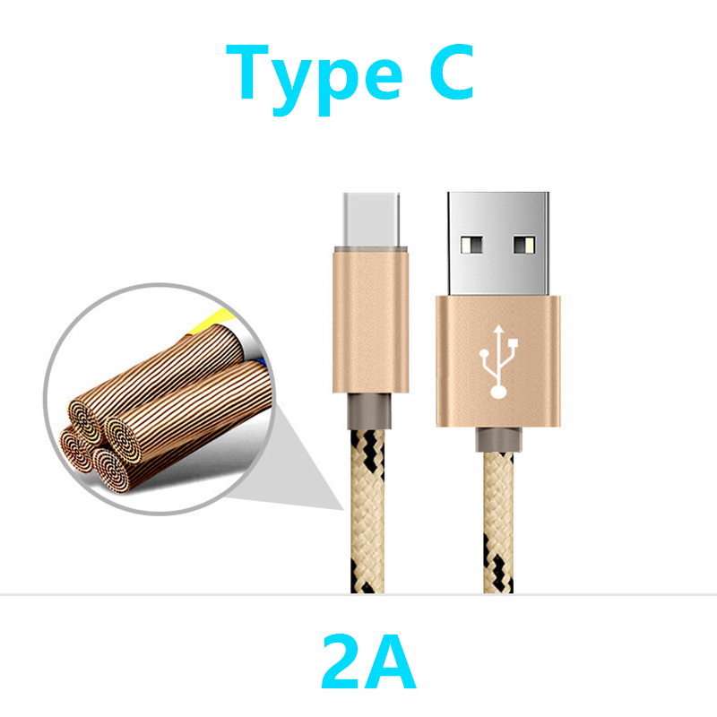 Fastest Electronics Store Nylon Nickel plated USB Type C cable 2A 25cm 1M Alloy adapter wire fast charge Type-C cable for Xiaomi Mi5 Mi4c 5s Meizu Letv 2