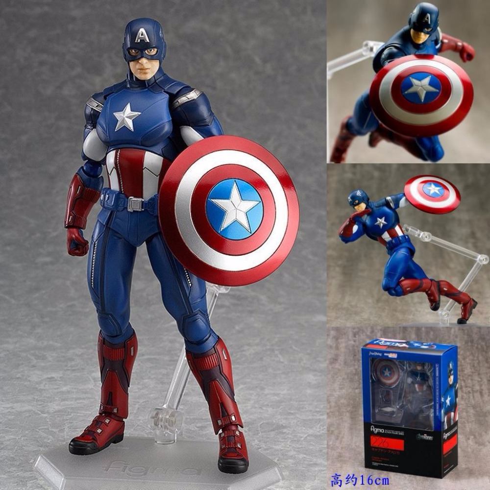 Huong Movie Figure 16 CM The Avengers Captain America Figma 226# PVC Action Figure Collectible Model Toy marvel select captain america the winter soldier pvc action figure collectible model toy 7 18cm 2 styles