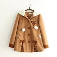 Japanese Mori Girl Outwear 2018 Winter Women Sweet Lolita Woolen Coats Cute Embroidery Bowknot Hooded Warm Thick Jacket Coat