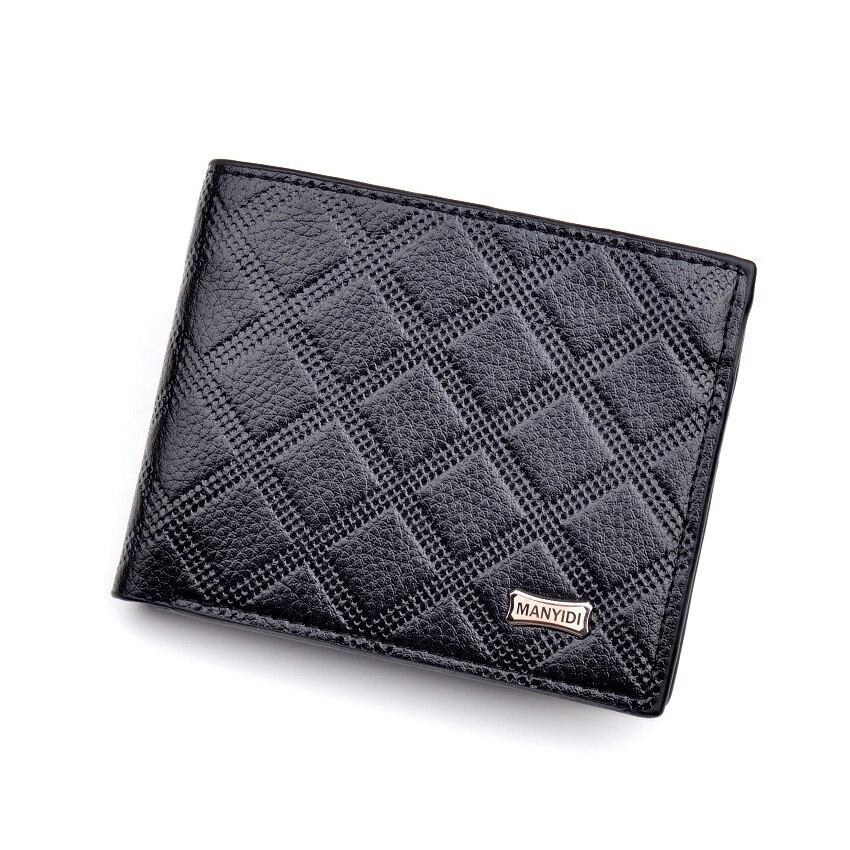 3 Type Luxury Lattice Wallet Man Short Leather Male Purse Card Holder