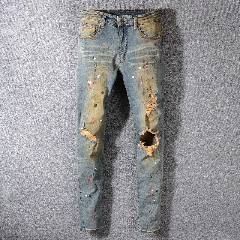 Fashion Streetwear Men Jeans Retro Wash Slim Fit Paint Designer Ripped Jeans Men Printed Pants Destroyed Hip Hop Jeans
