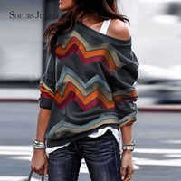 Women Cotton Tshirt Fashion Geometric Striped Long Sleeve Tops & Tees Off-the-shoulder Loose Casual O-neck T Shirt 7428