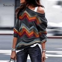 Women Cotton Tshirt Fashion Geometric Striped Long Sleeve Tops & Tees Off the shoulder Loose Casual O neck T Shirt 7428