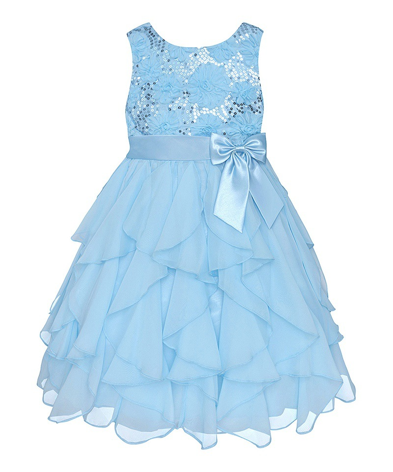 chinese chiffon sky blue ball gown spring summer Elegant Flower Girl Dress For Weddings dress for party girl