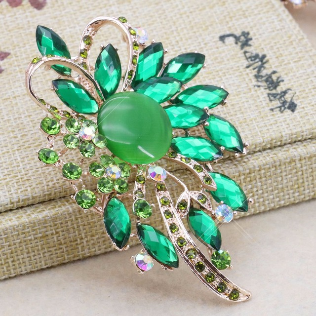 Fashion Green Brooch Bouquet Pins Diy Gifts Wedding Brooches Crystal Gl Bead Jewelry Making Design