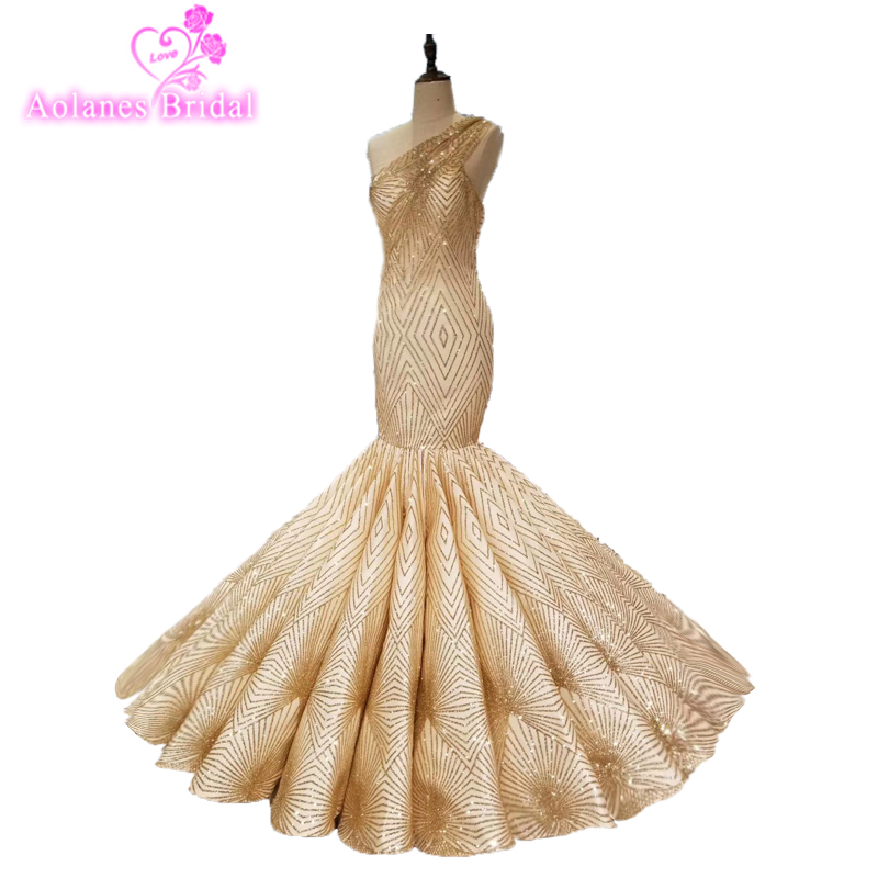 Real Gold Bling Bling Glude Mermaid Wedding Dress 2018 One Shoulder Sexy Wedding Gown Luxury Dubai Waves fishtail Bridal Dresses