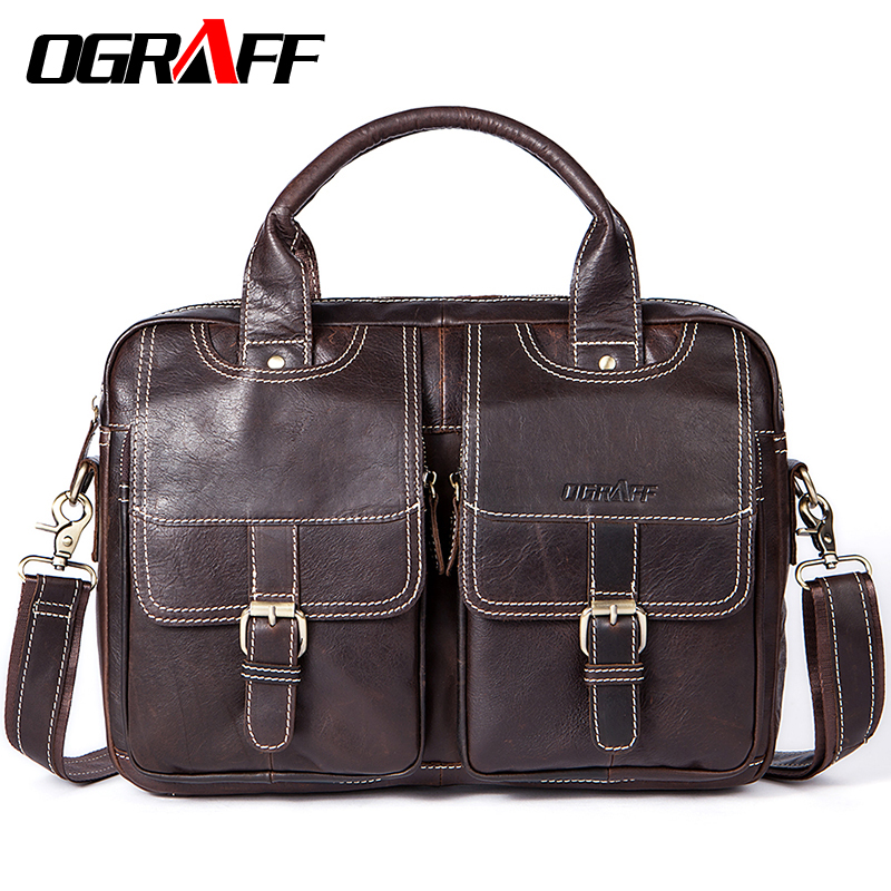 OGRAFF Men Bag Handbags Genuine Leather Bags Men Briefcase Designer Men Crossbody Messenger Shouder Bag Leather Laptop Bag Sale ograff men handbags briefcase laptop tote bag genuine leather bag men messenger bags business leather shoulder crossbody bag men