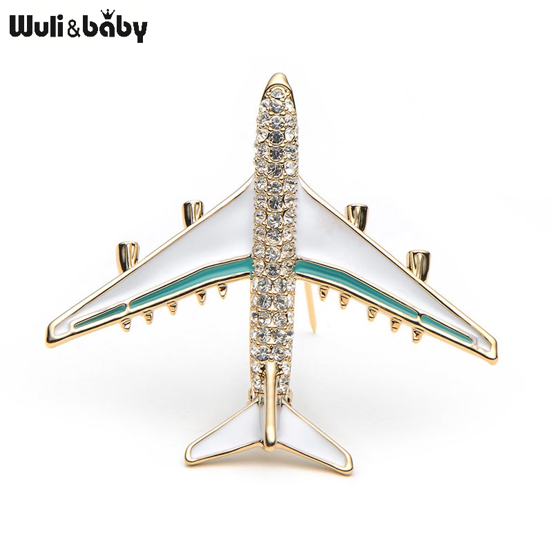 Wuli & Baby Legering Airplane Broche Pins Rhinestone Red Plane Luksus Brand Brocher For Women Kvalitet Gave Aircraft Scarf Buckle