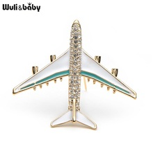 Wuli&Baby Alloy Airplane Brooch Pins Rhinestone Red Plane Luxury Brand Brooches For Women Quality Gift Aircraft Scarf Buckle
