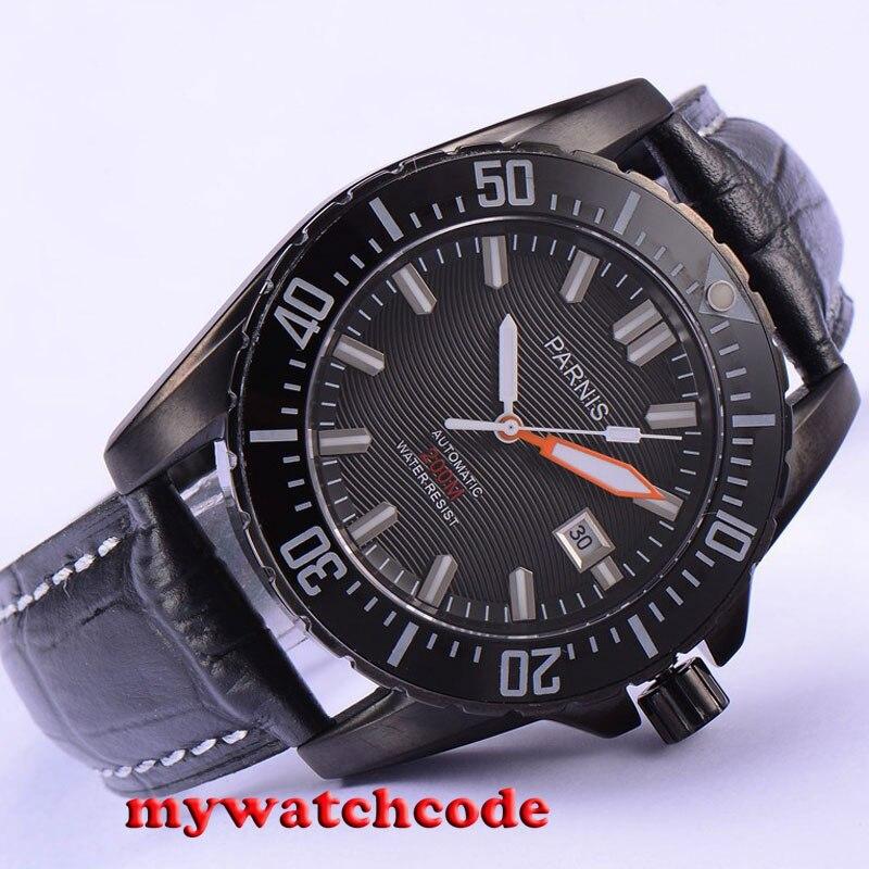 44mm Parnis black dial Ceramic bezel 20atm automatic diving mens watch P681 цена