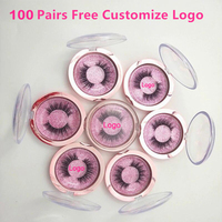 Free Customizing Logo 100 Pairs Wholesale free DHL 18Style Eyelashes False Eyelash 3D Mink Lash Handmade Eye Lashes print logo