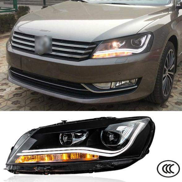 Car Headlight For Volkswagen VW Passat B7 2010 2011 2012 2013 Bifocal lens Guiding light Auto Head lights Front Light LED DRL car rear trunk security shield cargo cover for volkswagen vw tiguan 2016 2017 2018 high qualit black beige auto accessories