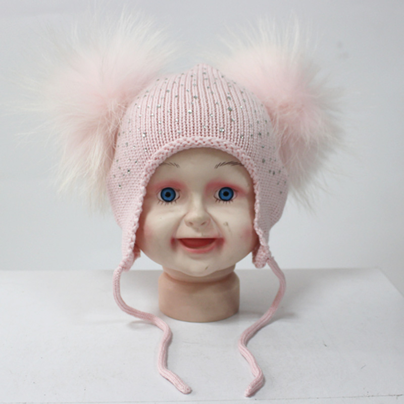 6-24Months 100% Merino Wool Earflap Bomber Hat with Real Raccoon Fur Pompoms for Girls and Boys Kids Beanie Cap new star spring cotton baby hat for 6 months 2 years with fluffy raccoon fox fur pom poms touca kids caps for boys and girls