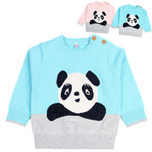 2018 Autumn Baby Boy Clothes Cartoon Infant Panda Cotton Baby Girl Clothes Cute Long Sleeve Knitted Sweaters Toddlers Clothing(China)