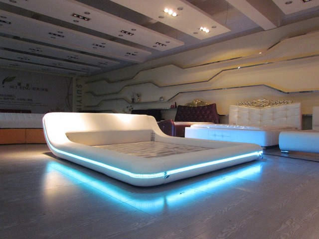 remote control contemporary modern leather LED bed King size ...