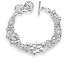 XIYANIKE New Arrival 2017 Sterling Silver Multi-line Flash Sand Beads Bracelet F