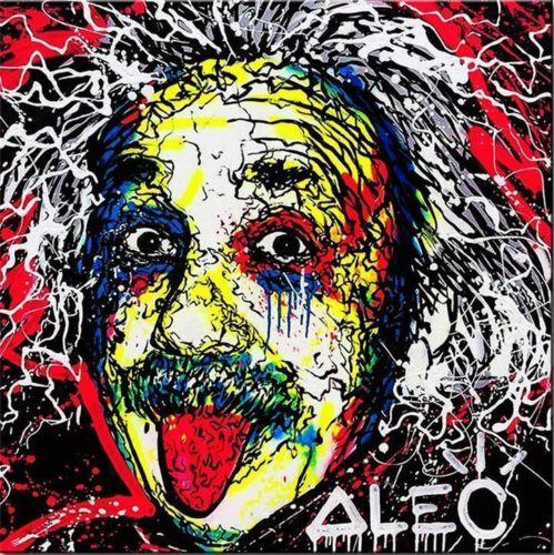 100% fait à la main Alec monopole incroyable impression HD sur toile Graffiti art Albert Einstein 24x24