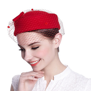 Image 2 - Classical Wool Fedoras Felt Pillbox Hat Veil Bow Women Dress Fascinator Hat Wedding Hat Ladies Derby Party Headwear Black White