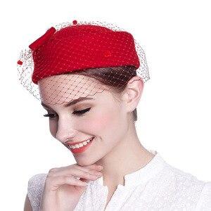 Image 2 - Sombrero clásico de fieltro para mujer, pastillero, velo, lazo, sombrero fascinador, sombrero de boda, Derby, sombrerería de fiesta, blanco y negro