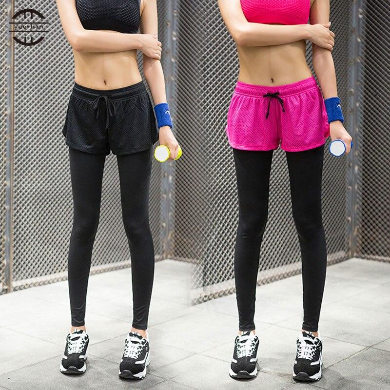 Prix pour Jaune faux deux pièces legging chaude femmes gym long yoga pantalon de sport collants pantalon maigre sexy filles fitness yoga pantalon