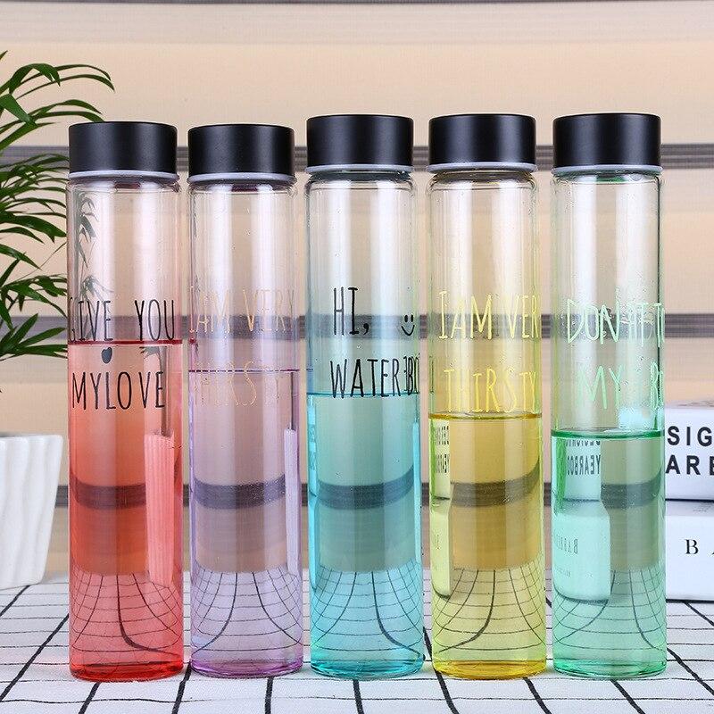 Stern Glas Wasserflasche Wasser Trinkflasche Mode Multi Farbe Beliebte Wasserflaschen Leicht Flasche Mit Deckel Frei BPA