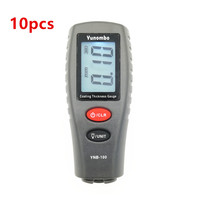 10 pces yunombo YNB-100 digital medidor de espessura da pintura do carro tester medidor de espessura de revestimento com inglês manual rússia